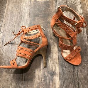 Vince Camuto suede orange studded heels